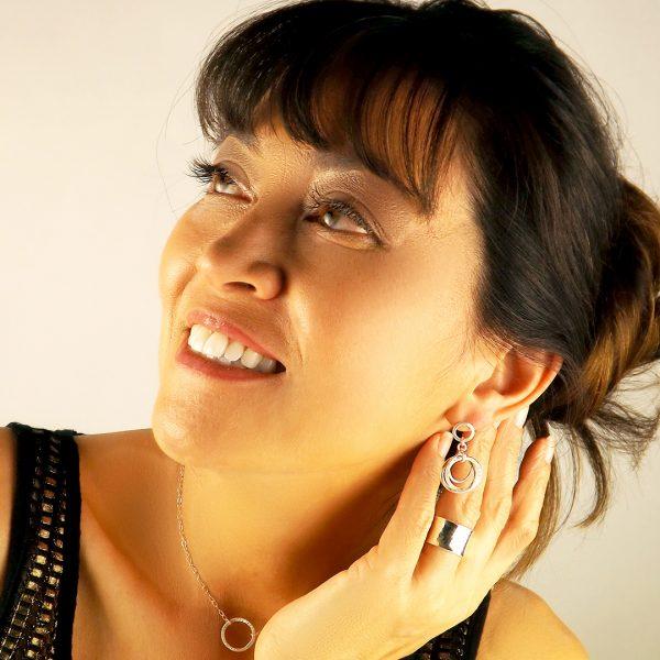 Love Knot Earrings Displayed on Model