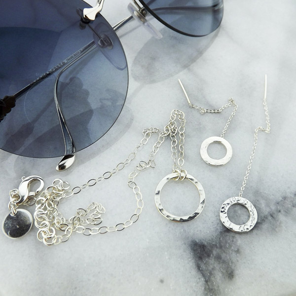 Image of Eternity Circle Necklace and Earrings