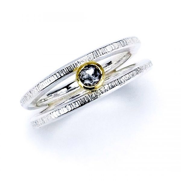 Top view of the Rose Cut Diamond Silver Ring.