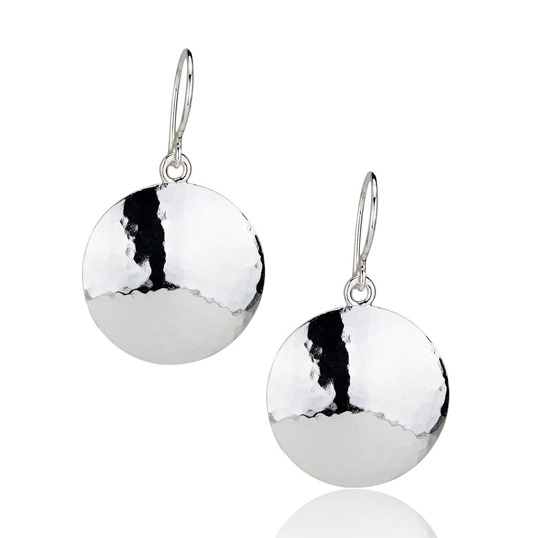 Small Silver Disc Earrings Handcrafted Jewelry