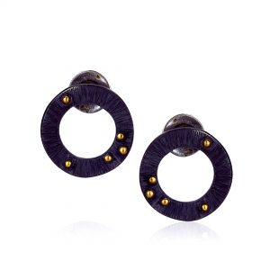 Black Circle Stud Earrings