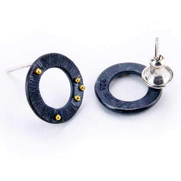 Black Circle Stud Earrings
