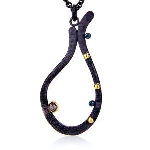 Black Silver Drop Pendant Necklace