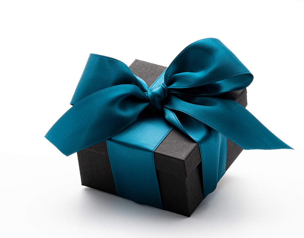 Black jewelry gift box with satin teal bow