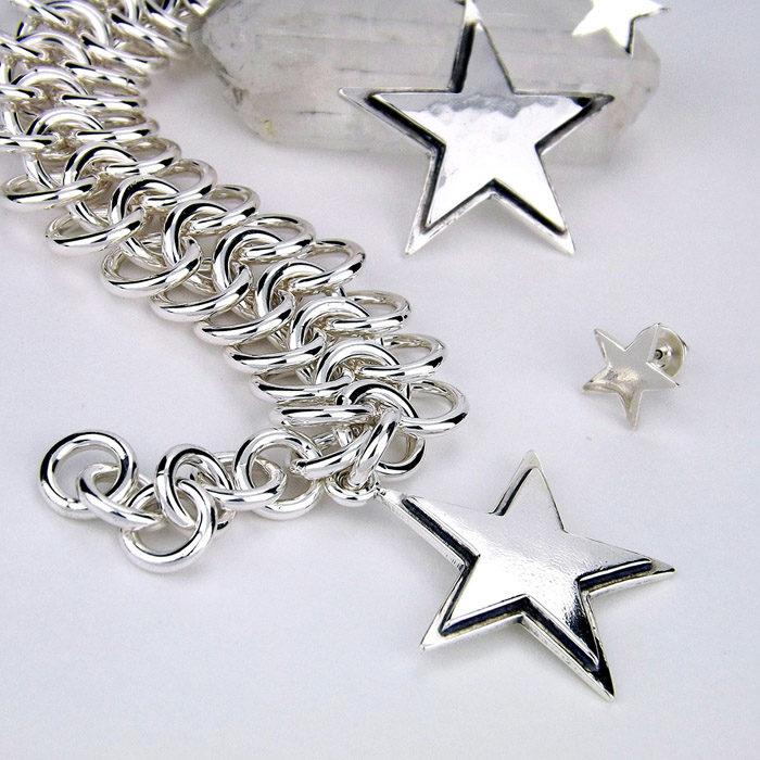 Star Chain Bracelet, Pendant, and Earrings